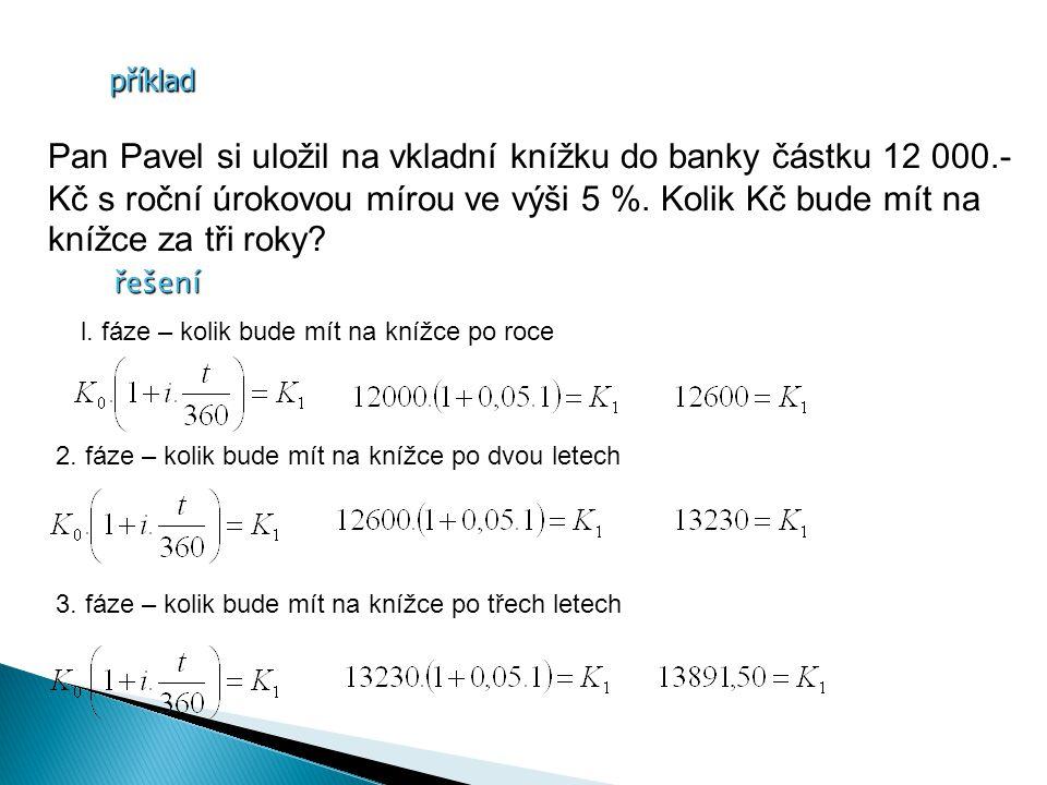 příklad Pan Pavel si uložil na vkladní knížku do banky částku 12 000.- Kč s roční úrokovou mírou ve výši 5 %.