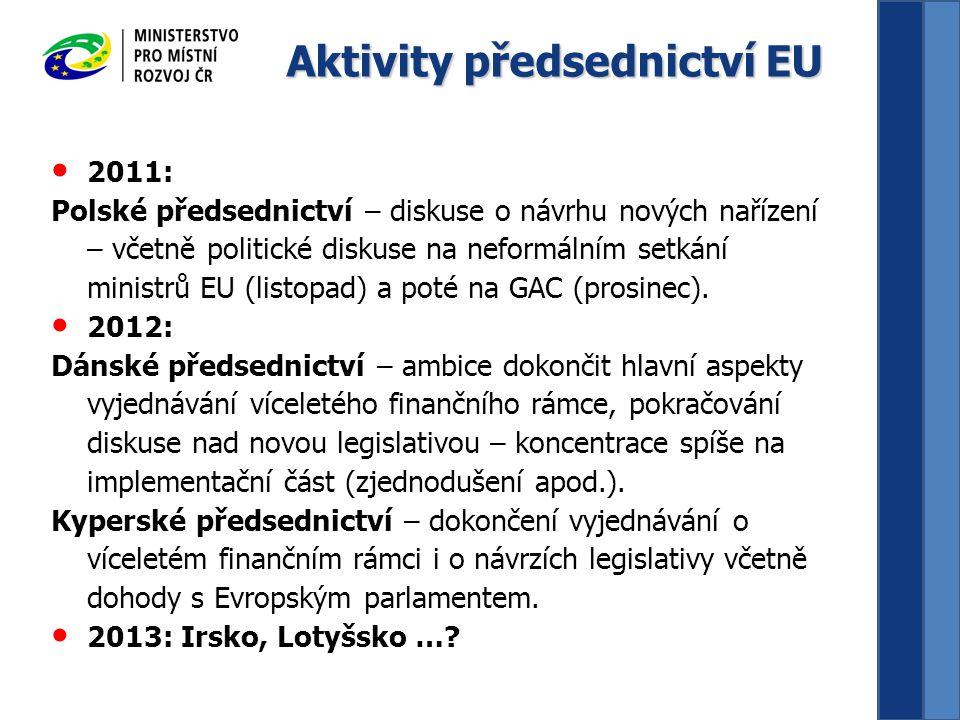 Aktivity předsednictví EU 2011: Polské předsednictví – diskuse o návrhu nových nařízení – včetně politické diskuse na neformálním setkání ministrů EU (listopad) a poté na GAC (prosinec).
