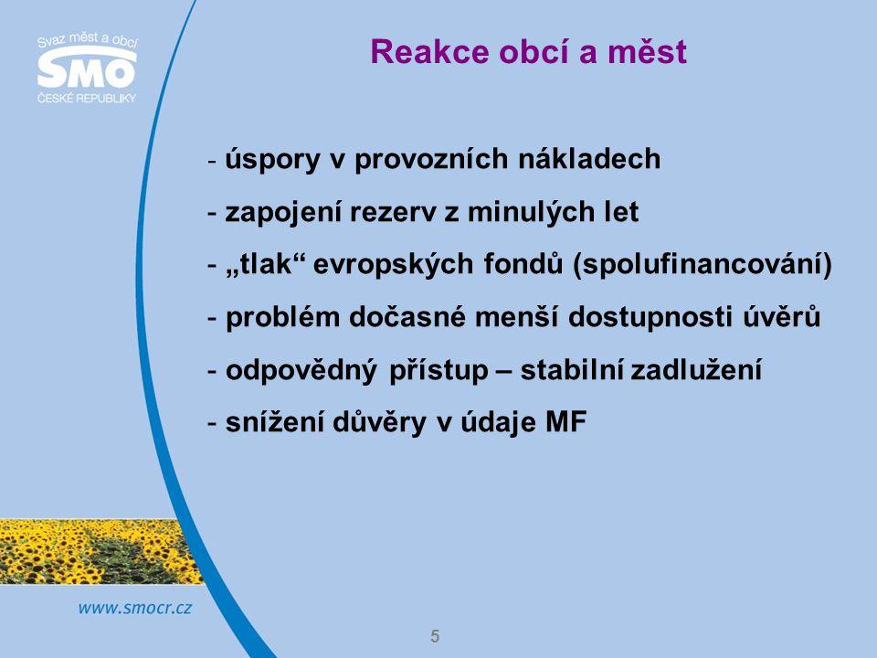 """5 Reakce obcí a měst - úspory v provozních nákladech - zapojení rezerv z minulých let - """"tlak evropských fondů (spolufinancování) - problém dočasné menší dostupnosti úvěrů - odpovědný přístup – stabilní zadlužení - snížení důvěry v údaje MF"""