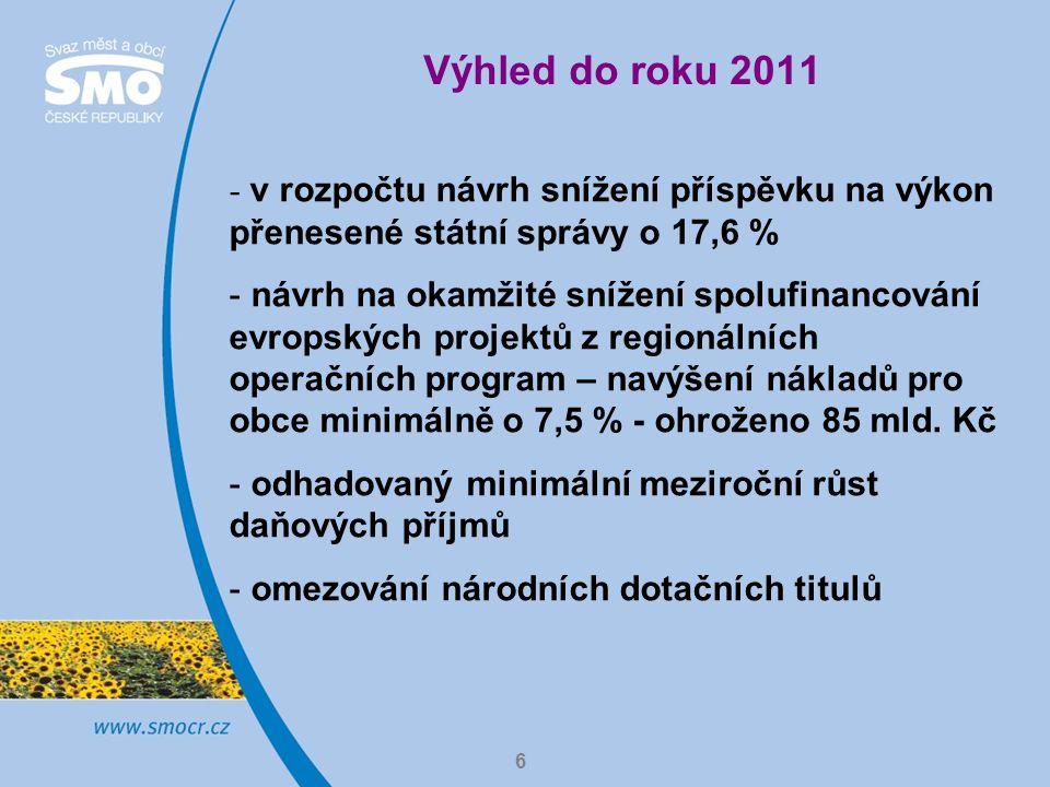 6 Výhled do roku 2011 - v rozpočtu návrh snížení příspěvku na výkon přenesené státní správy o 17,6 % - návrh na okamžité snížení spolufinancování evropských projektů z regionálních operačních program – navýšení nákladů pro obce minimálně o 7,5 % - ohroženo 85 mld.