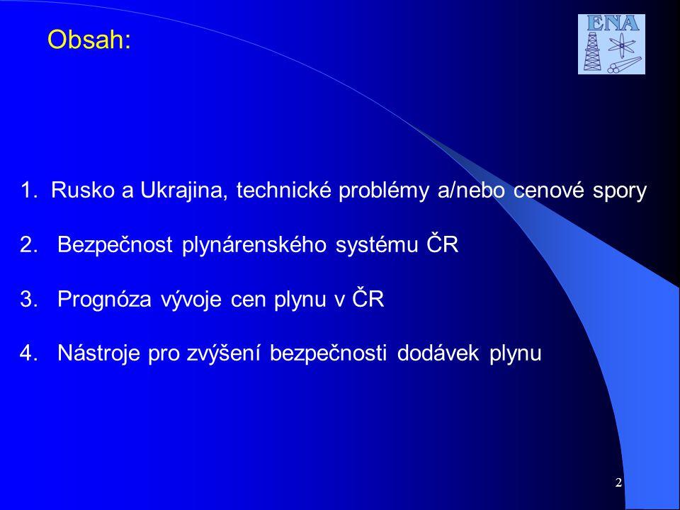 2 Obsah: 1. Rusko a Ukrajina, technické problémy a/nebo cenové spory 2.