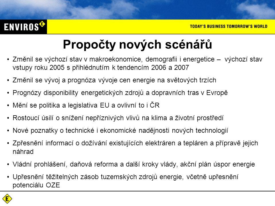 Propočty nových scénářů Změnil se výchozí stav v makroekonomice, demografii i energetice – výchozí stav vstupy roku 2005 s přihlédnutím k tendencím 2006 a 2007 Změnil se vývoj a prognóza vývoje cen energie na světových trzích Prognózy disponibility energetických zdrojů a dopravních tras v Evropě Mění se politika a legislativa EU a ovlivní to i ČR Rostoucí úsilí o snížení nepříznivých vlivů na klima a životní prostředí Nové poznatky o technické i ekonomické nadějnosti nových technologií Zpřesnění informací o dožívání existujících elektráren a tepláren a přípravě jejich náhrad Vládní prohlášení, daňová reforma a další kroky vlády, akční plán úspor energie Upřesnění těžitelných zásob tuzemských zdrojů energie, včetně upřesnění potenciálu OZE