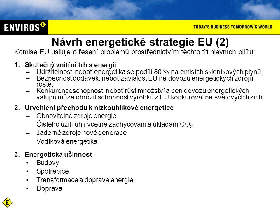 Návrh energetické strategie EU (2) Komise EU usiluje o řešení problémů prostřednictvím těchto tří hlavních pilířů: 1.Skutečný vnitřní trh s energií –Udržitelnost, neboť energetika se podílí 80 % na emisích skleníkových plynů; –Bezpečnost dodávek, neboť závislost EU na dovozu energetických zdrojů roste; –Konkurenceschopnost, neboť růst množství a cen dovozu energetických vstupů může ohrozit schopnost výrobků z EU konkurovat na světových trzích 2.Urychlení přechodu k nízkouhlíkové energetice –Obnovitelné zdroje energie –Čistého užití uhlí včetně zachycování a ukládání CO 2 –Jaderné zdroje nové generace –Vodíková energetika 3.Energetická účinnost Budovy Spotřebiče Transformace a doprava energie Doprava
