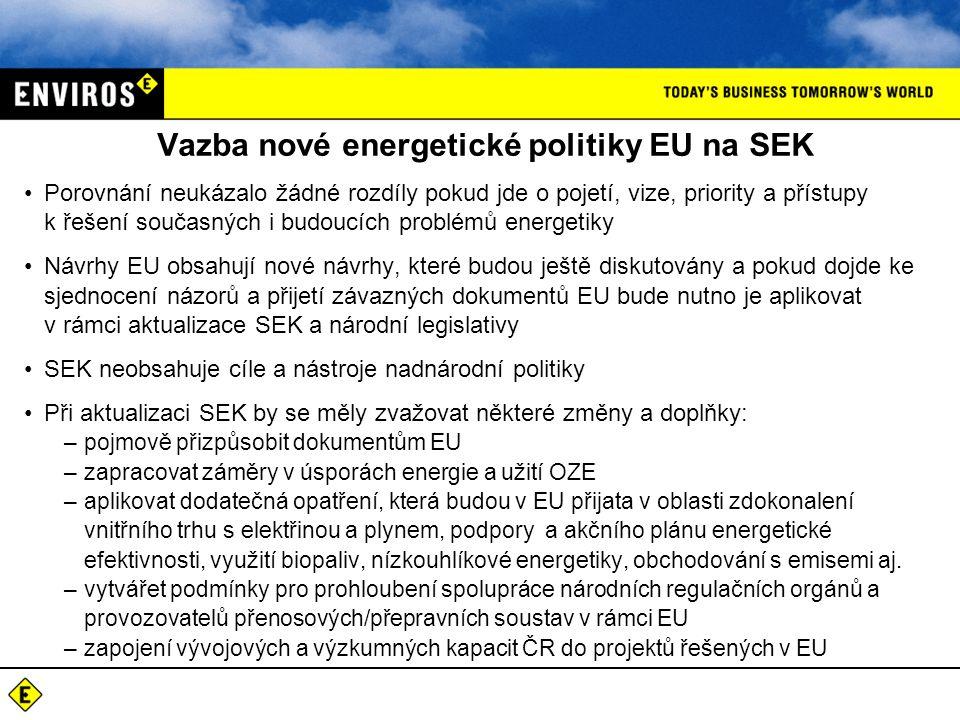 Vazba nové energetické politiky EU na SEK Porovnání neukázalo žádné rozdíly pokud jde o pojetí, vize, priority a přístupy k řešení současných i budoucích problémů energetiky Návrhy EU obsahují nové návrhy, které budou ještě diskutovány a pokud dojde ke sjednocení názorů a přijetí závazných dokumentů EU bude nutno je aplikovat v rámci aktualizace SEK a národní legislativy SEK neobsahuje cíle a nástroje nadnárodní politiky Při aktualizaci SEK by se měly zvažovat některé změny a doplňky: –pojmově přizpůsobit dokumentům EU –zapracovat záměry v úsporách energie a užití OZE –aplikovat dodatečná opatření, která budou v EU přijata v oblasti zdokonalení vnitřního trhu s elektřinou a plynem, podpory a akčního plánu energetické efektivnosti, využití biopaliv, nízkouhlíkové energetiky, obchodování s emisemi aj.