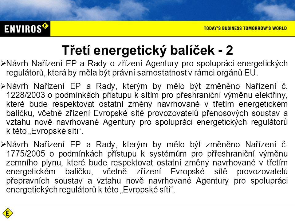 Třetí energetický balíček - 2  Návrh Nařízení EP a Rady o zřízení Agentury pro spolupráci energetických regulátorů, která by měla být právní samostatnost v rámci orgánů EU.