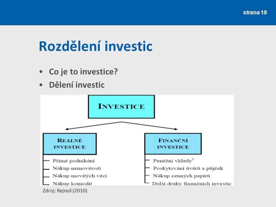 Rozdělení investic Co je to investice? Dělení investic strana 18 Zdroj: Rejnuš (2010)