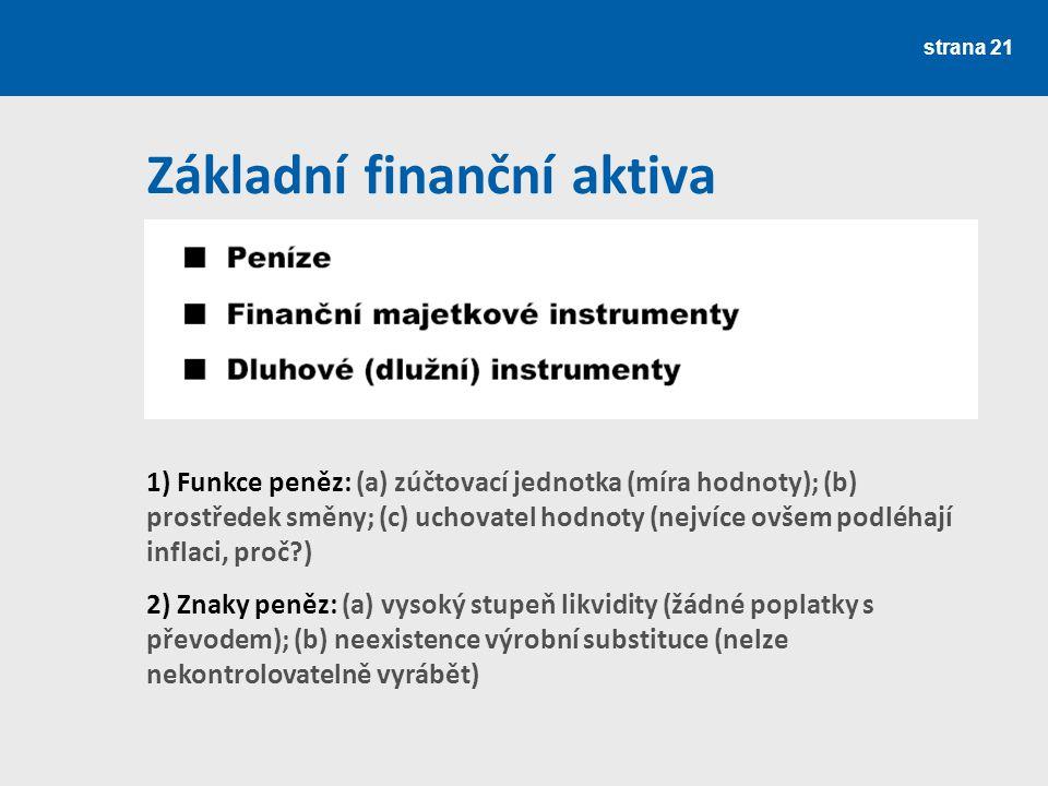 Základní finanční aktiva strana 21 1) Funkce peněz: (a) zúčtovací jednotka (míra hodnoty); (b) prostředek směny; (c) uchovatel hodnoty (nejvíce ovšem