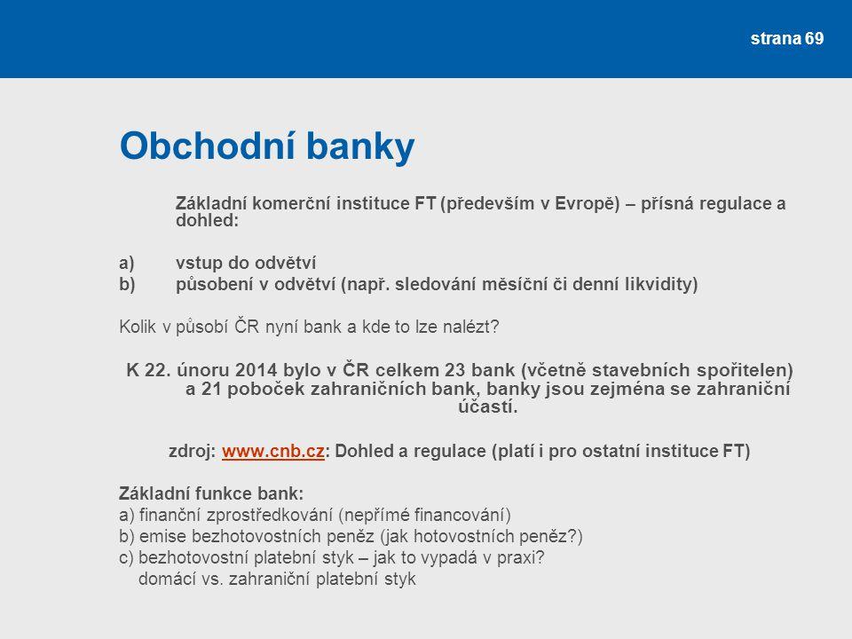 strana 69 Obchodní banky Základní komerční instituce FT (především v Evropě) – přísná regulace a dohled: a) vstup do odvětví b) působení v odvětví (na