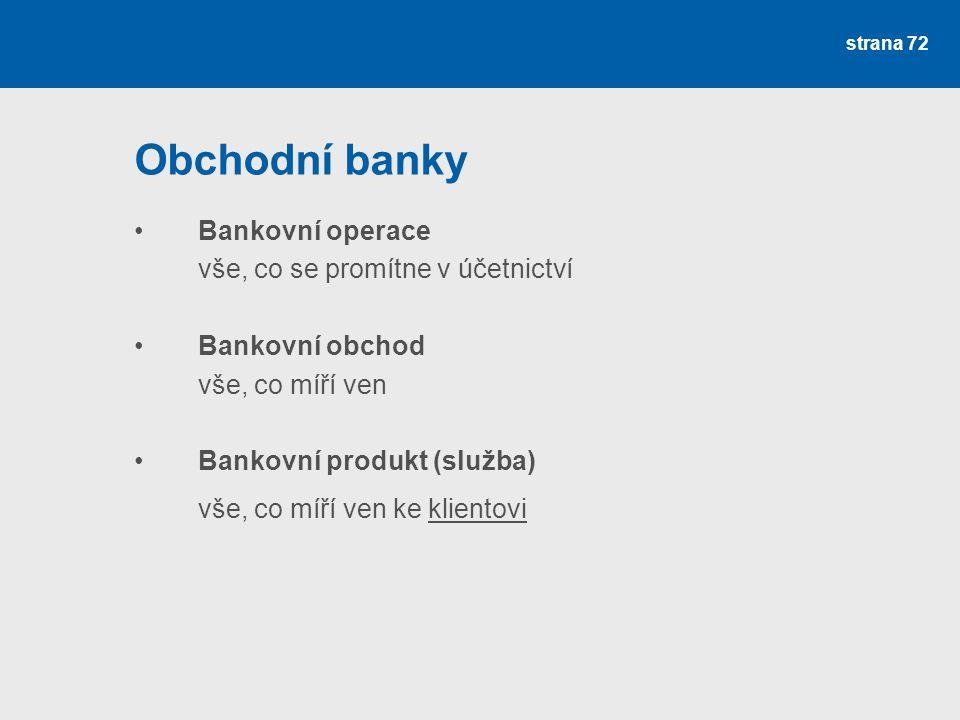 strana 72 Obchodní banky Bankovní operace vše, co se promítne v účetnictví Bankovní obchod vše, co míří ven Bankovní produkt (služba) vše, co míří ven