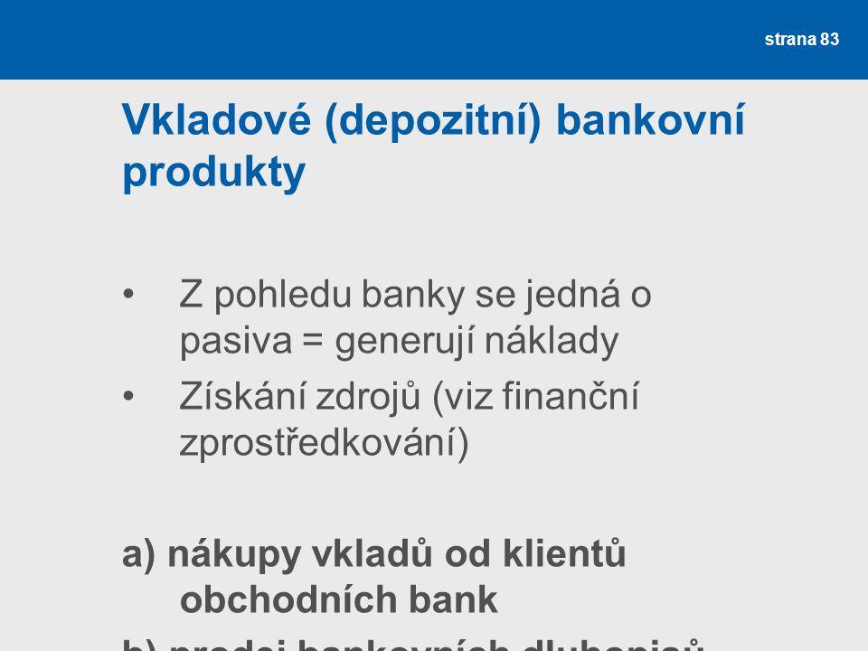strana 83 Vkladové (depozitní) bankovní produkty Z pohledu banky se jedná o pasiva = generují náklady Získání zdrojů (viz finanční zprostředkování) a)