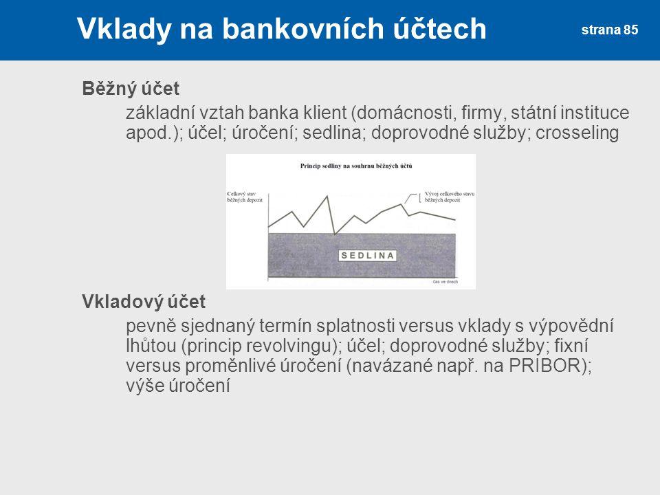 strana 85 Vklady na bankovních účtech Běžný účet základní vztah banka klient (domácnosti, firmy, státní instituce apod.); účel; úročení; sedlina; dopr