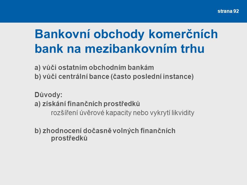 strana 92 Bankovní obchody komerčních bank na mezibankovním trhu a) vůči ostatním obchodním bankám b) vůči centrální bance (často poslední instance) D