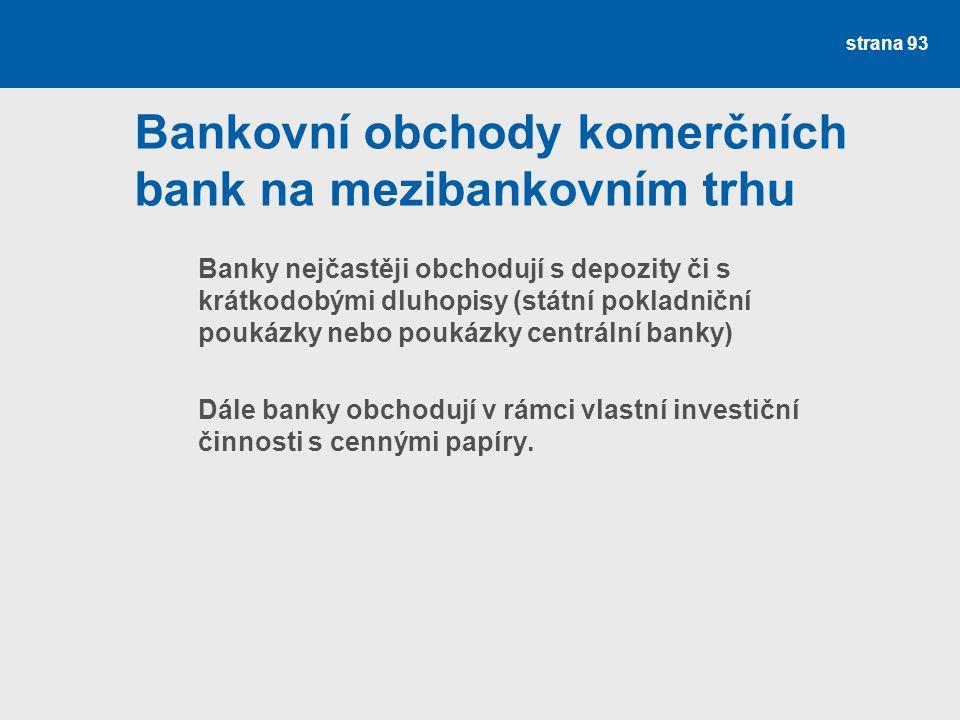 strana 93 Bankovní obchody komerčních bank na mezibankovním trhu Banky nejčastěji obchodují s depozity či s krátkodobými dluhopisy (státní pokladniční