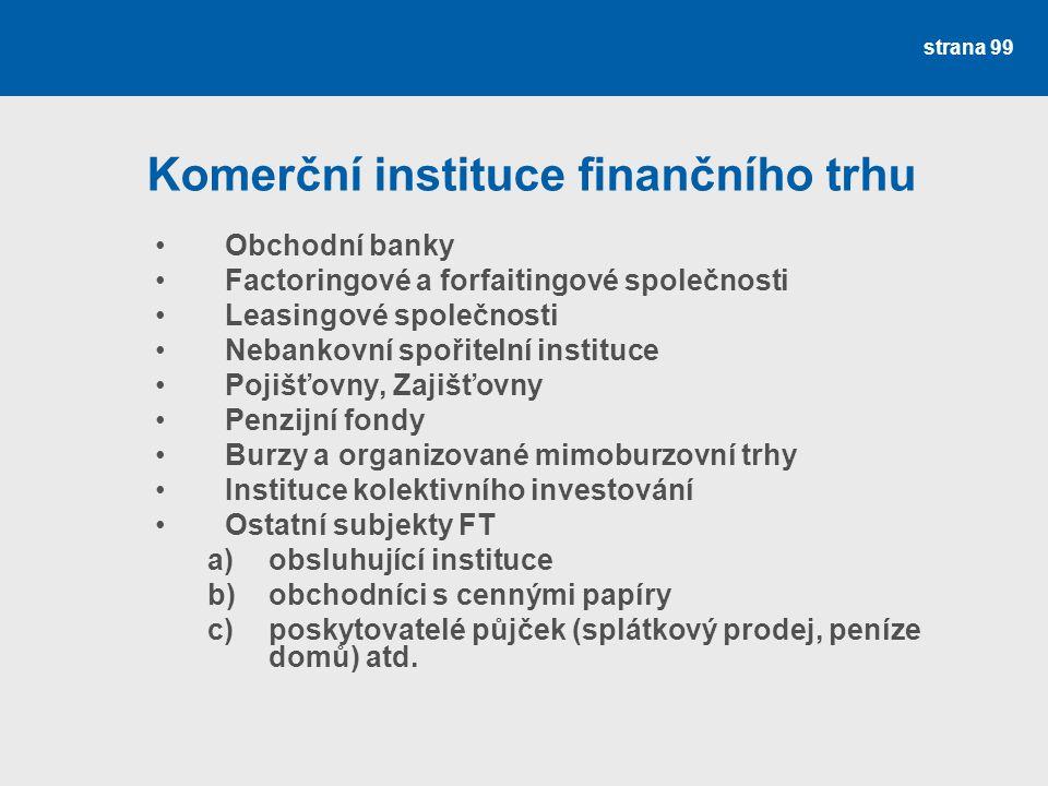strana 99 Komerční instituce finančního trhu Obchodní banky Factoringové a forfaitingové společnosti Leasingové společnosti Nebankovní spořitelní inst