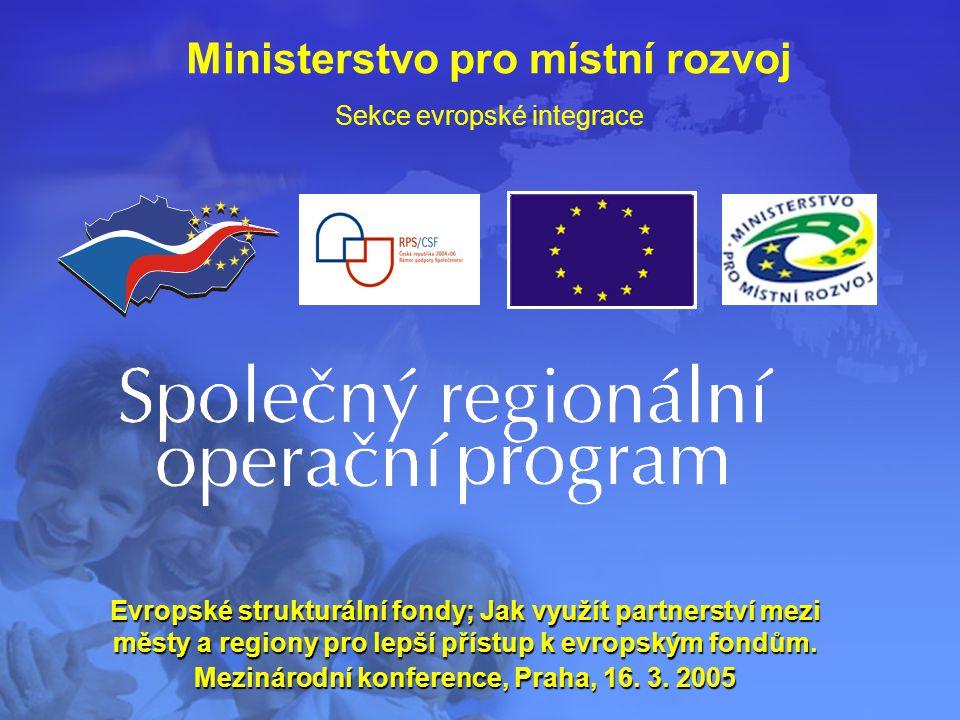 Ministerstvo pro místní rozvoj Sekce evropské integrace Evropské strukturální fondy; Jak využít partnerství mezi městy a regiony pro lepší přístup k evropským fondům.