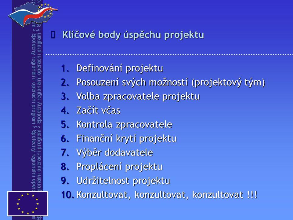 Klíčové body úspěchu projektu  1.Definování projektu 2.Posouzení svých možností (projektový tým) 3.Volba zpracovatele projektu 4.Začít včas 5.Kontrola zpracovatele 6.Finanční krytí projektu 7.Výběr dodavatele 8.Proplácení projektu 9.Udržitelnost projektu 10.Konzultovat, konzultovat, konzultovat !!!