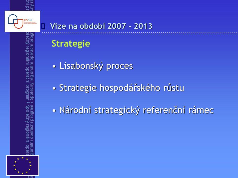 Vize na období 2007 - 2013  Strategie Lisabonský proces Lisabonský proces Strategie hospodářského růstu Strategie hospodářského růstu Národní strategický referenční rámec Národní strategický referenční rámec