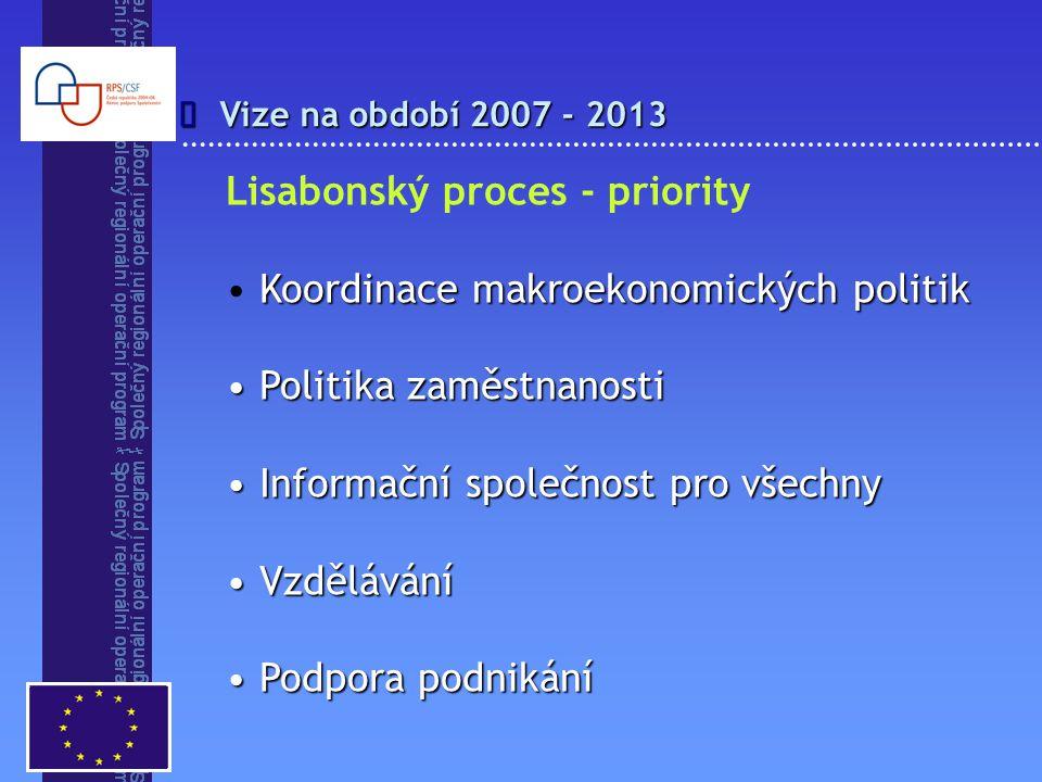 Vize na období 2007 - 2013  Lisabonský proces - priority Koordinace makroekonomických politik Politika zaměstnanosti Politika zaměstnanosti Informační společnost pro všechny Informační společnost pro všechny Vzdělávání Vzdělávání Podpora podnikání Podpora podnikání