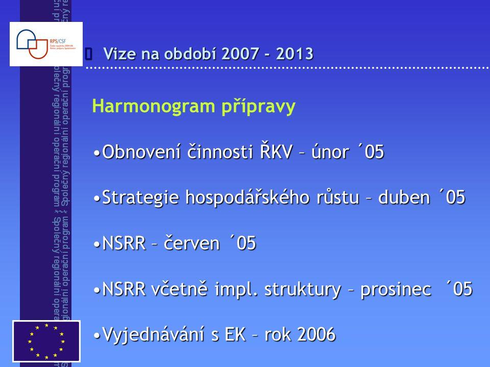 Vize na období 2007 - 2013  Harmonogram přípravy Obnovení činnosti ŘKV – únor ´05Obnovení činnosti ŘKV – únor ´05 Strategie hospodářského růstu – duben ´05Strategie hospodářského růstu – duben ´05 NSRR – červen ´05NSRR – červen ´05 NSRR včetně impl.