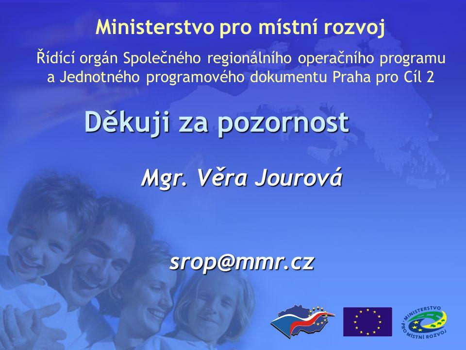 Děkuji za pozornost Ministerstvo pro místní rozvoj Řídící orgán Společného regionálního operačního programu a Jednotného programového dokumentu Praha pro Cíl 2 Mgr.