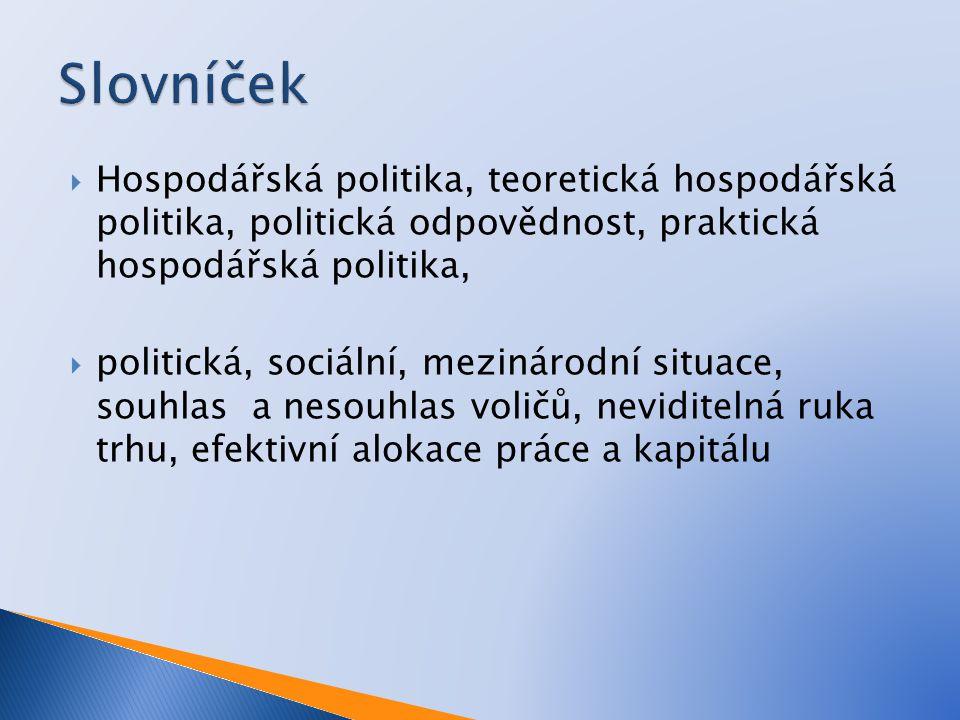 Hospodářská politika, teoretická hospodářská politika, politická odpovědnost, praktická hospodářská politika,  politická, sociální, mezinárodní sit