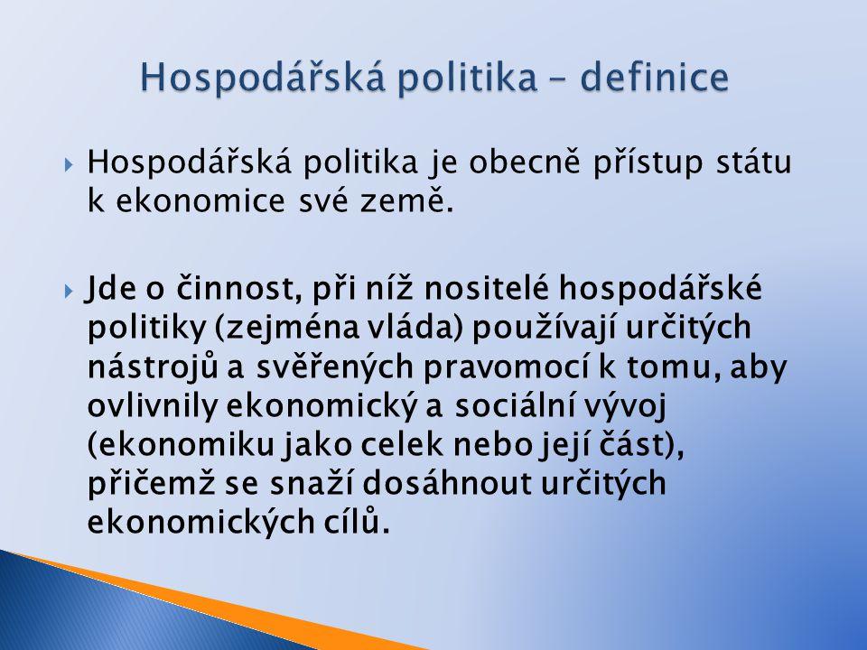  Hospodářská politika je obecně přístup státu k ekonomice své země.  Jde o činnost, při níž nositelé hospodářské politiky (zejména vláda) používají