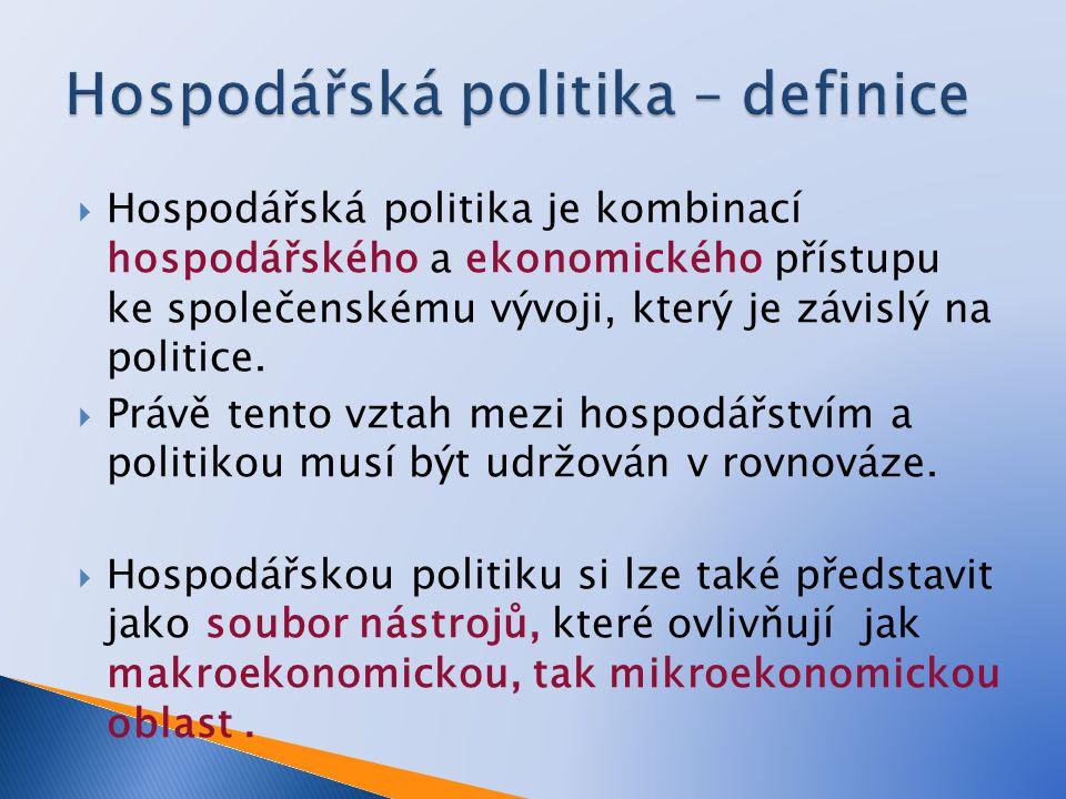  Hospodářská politika je kombinací hospodářského a ekonomického přístupu ke společenskému vývoji, který je závislý na politice.  Právě tento vztah m