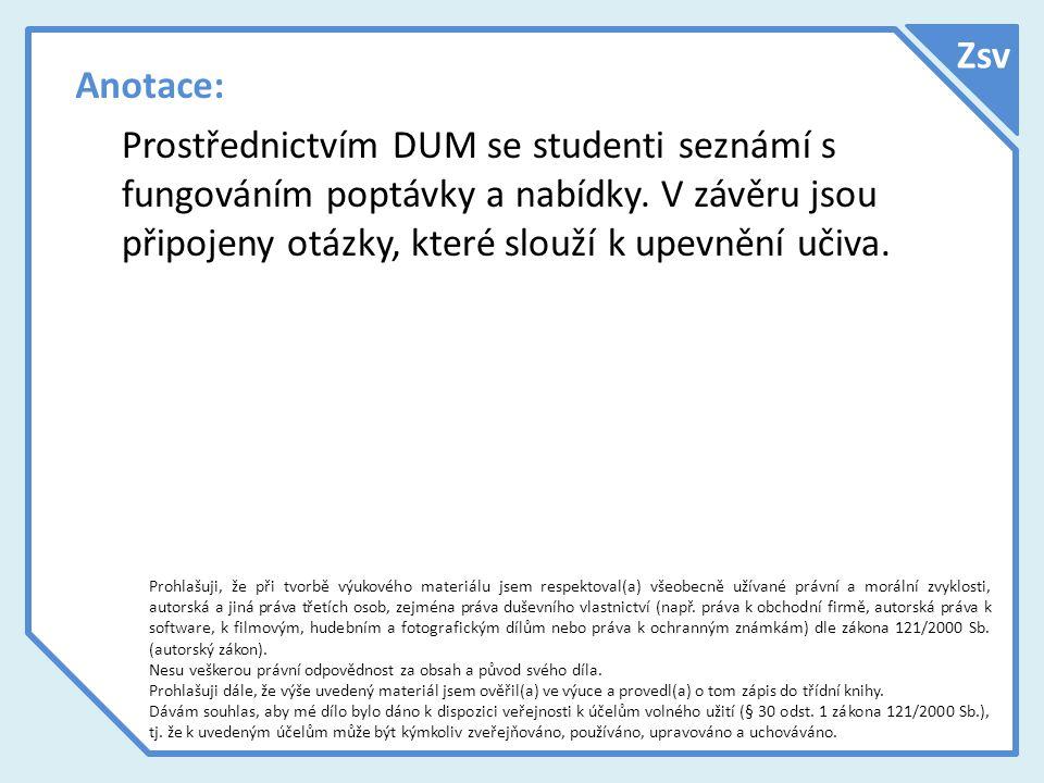 Anotace: Prostřednictvím DUM se studenti seznámí s fungováním poptávky a nabídky.