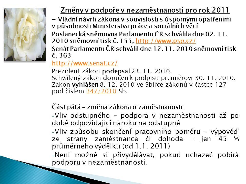 Změny v podpoře v nezaměstnanosti pro rok 2011 - Vládní návrh zákona v souvislosti s úspornými opatřeními v působnosti Ministerstva práce a sociálních věcí Poslanecká sněmovna Parlamentu ČR schválila dne 02.