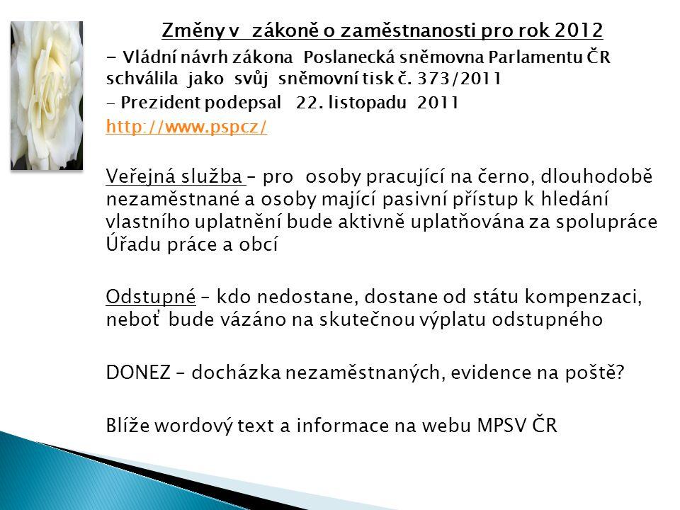 Změny v zákoně o zaměstnanosti pro rok 2012 - Vládní návrh zákona Poslanecká sněmovna Parlamentu ČR schválila jako svůj sněmovní tisk č.