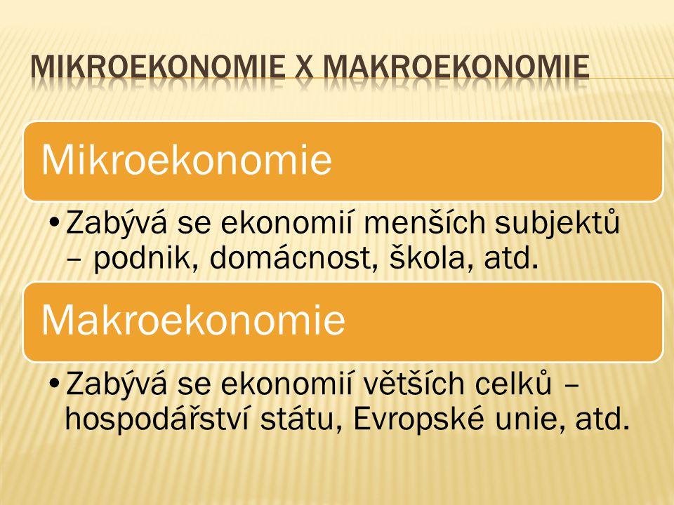 Mikroekonomie Zabývá se ekonomií menších subjektů – podnik, domácnost, škola, atd. Makroekonomie Zabývá se ekonomií větších celků – hospodářství státu