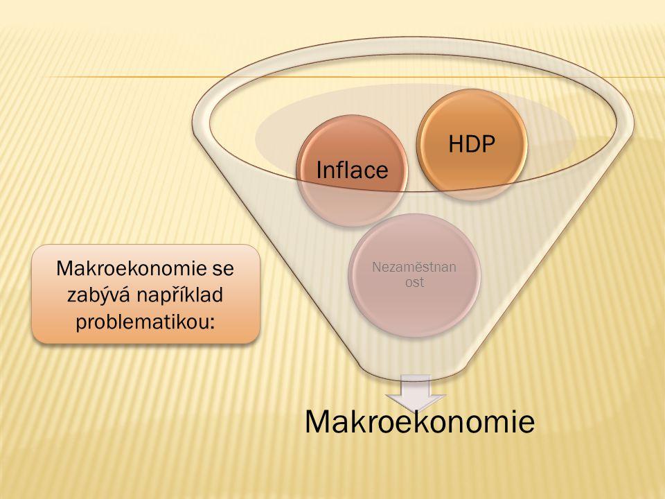 Makroekonomie Nezaměstnan ost InflaceHDP Makroekonomie se zabývá například problematikou: