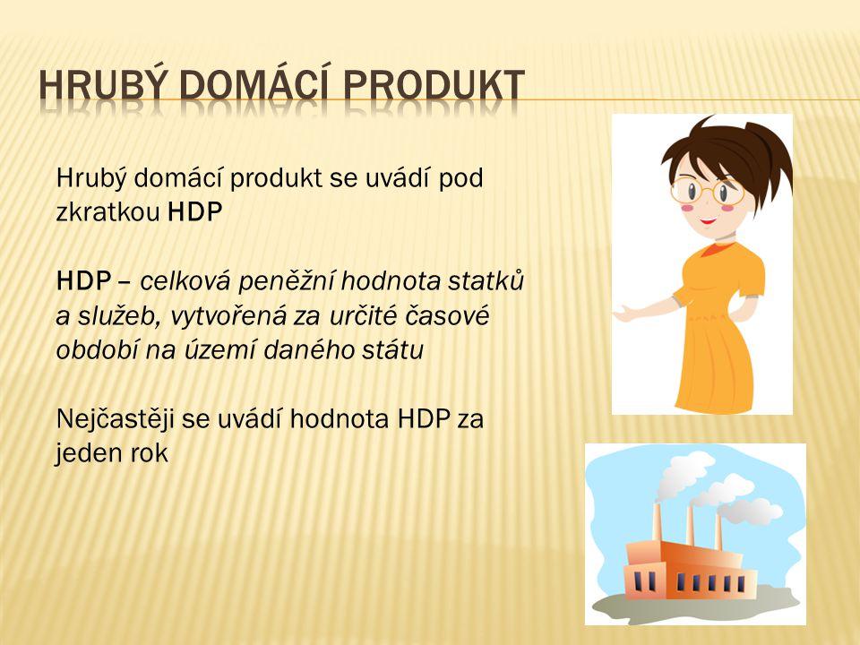 Hrubý domácí produkt se uvádí pod zkratkou HDP HDP – celková peněžní hodnota statků a služeb, vytvořená za určité časové období na území daného státu