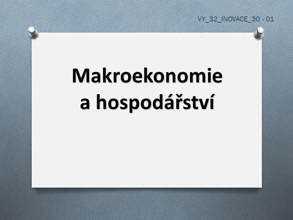 Makroekonomie - věda, která zkoumá ekonomiku jako celek - ekonomie je věda o ekonomice = hospodářst ví