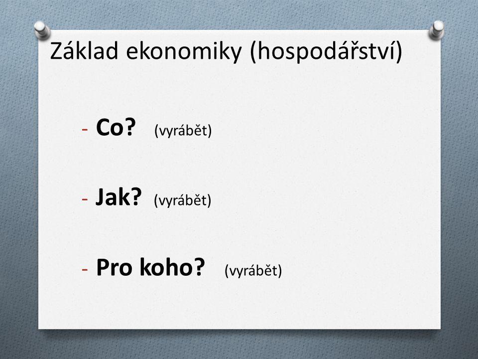 Základ ekonomiky (hospodářství) - Co? (vyrábět) - Jak? (vyrábět) - Pro koho? (vyrábět)