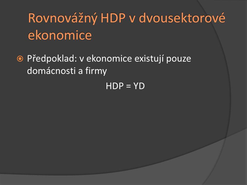  Předpoklad: v ekonomice existují pouze domácnosti a firmy HDP = YD