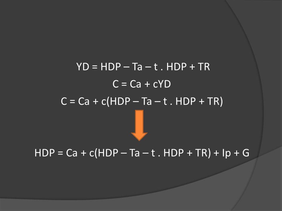 YD = HDP – Ta – t. HDP + TR C = Ca + cYD C = Ca + c(HDP – Ta – t. HDP + TR) HDP = Ca + c(HDP – Ta – t. HDP + TR) + Ip + G