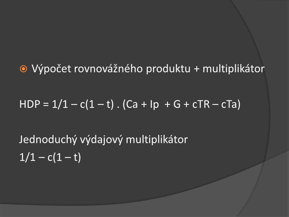 Výpočet rovnovážného produktu + multiplikátor HDP = 1/1 – c(1 – t). (Ca + Ip + G + cTR – cTa) Jednoduchý výdajový multiplikátor 1/1 – c(1 – t)