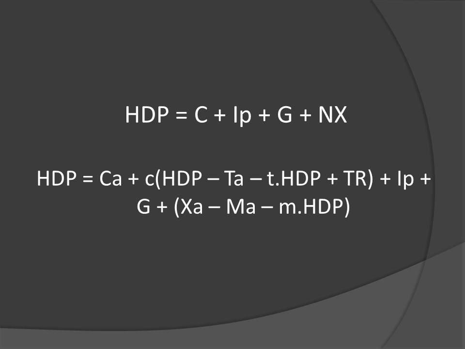 HDP = C + Ip + G + NX HDP = Ca + c(HDP – Ta – t.HDP + TR) + Ip + G + (Xa – Ma – m.HDP)