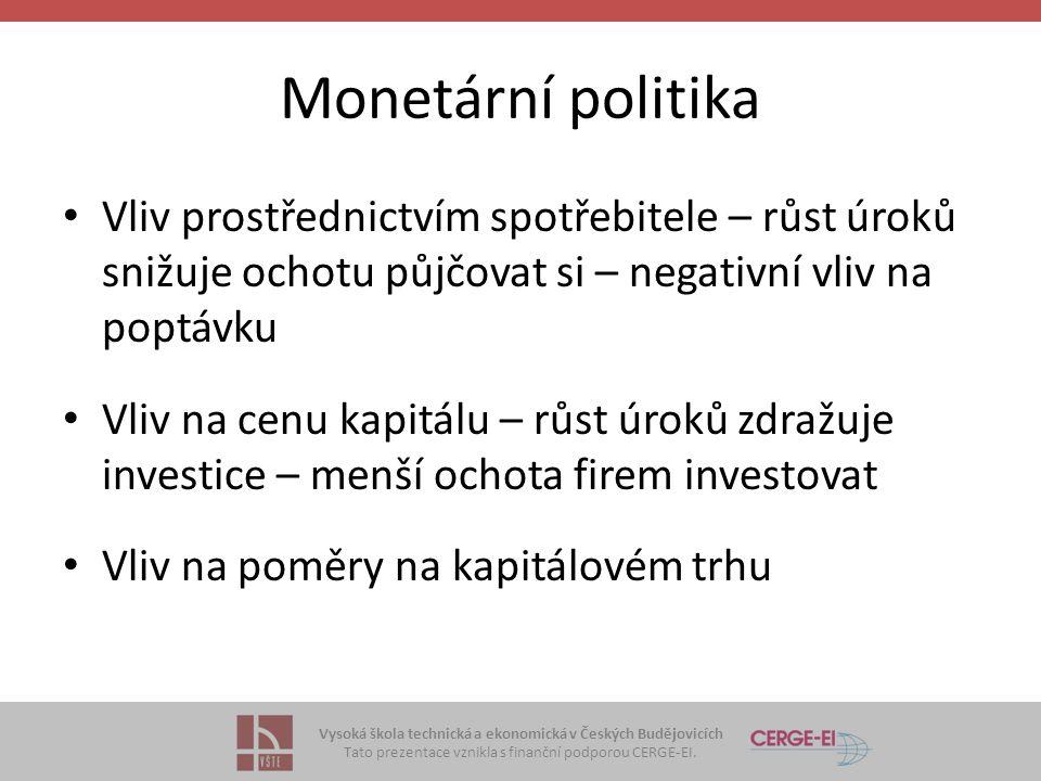Vysoká škola technická a ekonomická v Českých Budějovicích Tato prezentace vznikla s finanční podporou CERGE-EI. Monetární politika Vliv prostřednictv
