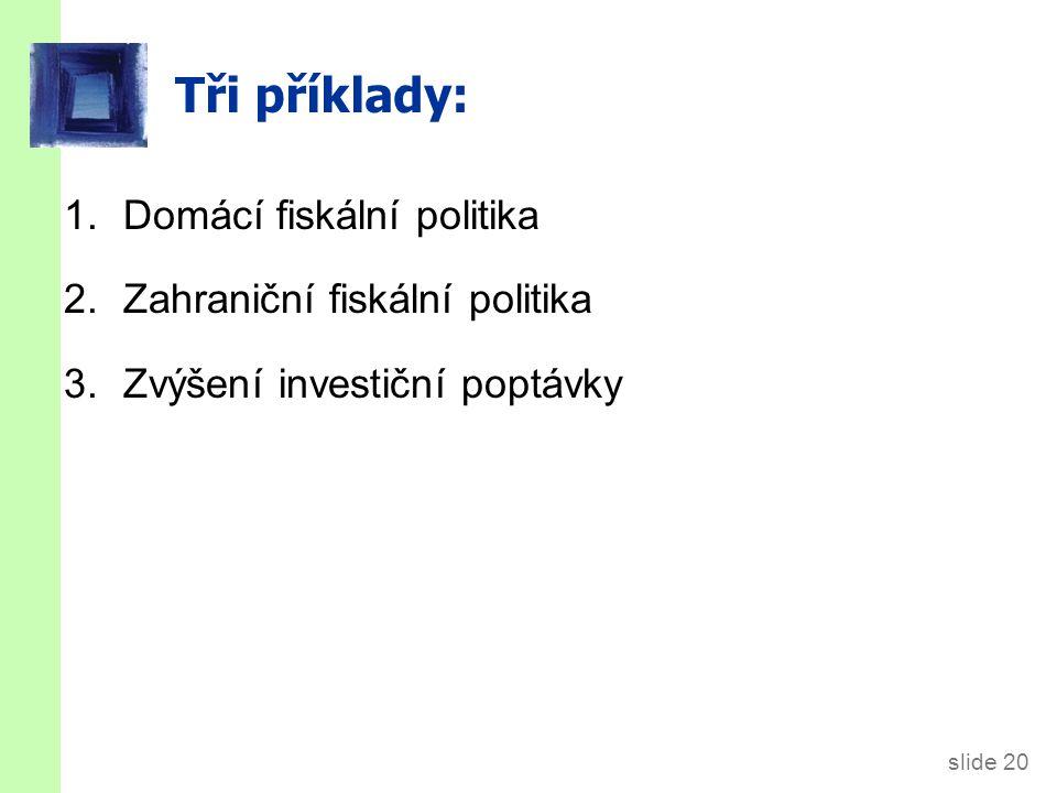 slide 20 Tři příklady: 1.Domácí fiskální politika 2.Zahraniční fiskální politika 3. Zvýšení investiční poptávky