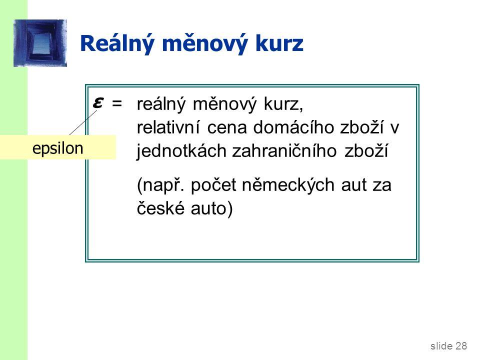 slide 28 Reálný měnový kurz = reálný měnový kurz, relativní cena domácího zboží v jednotkách zahraničního zboží (např. počet německých aut za české au