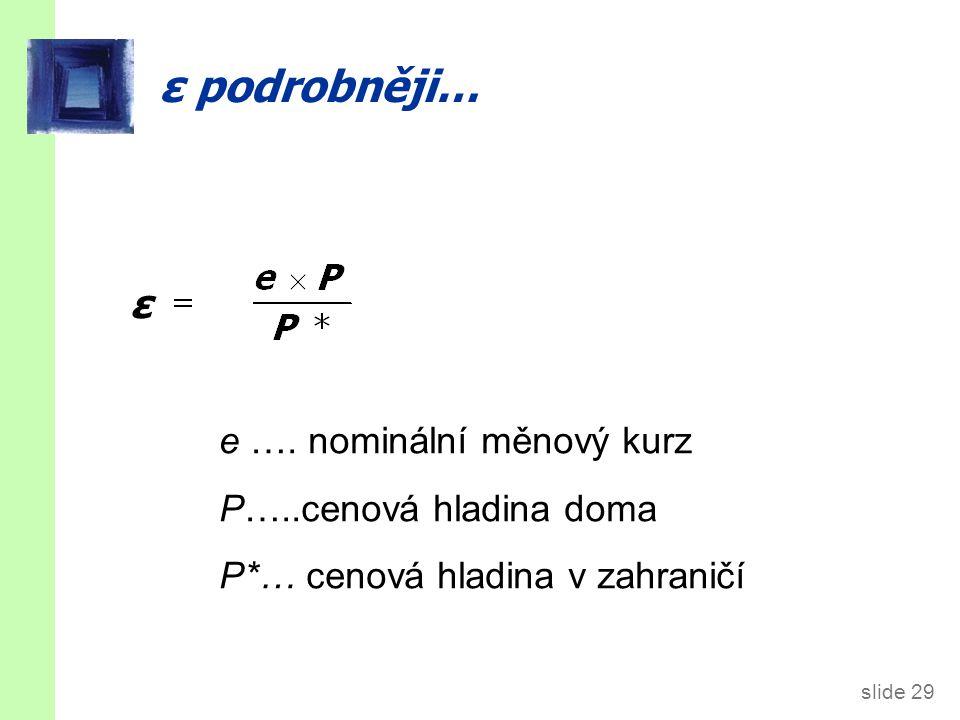 slide 29 ε podrobněji… ε e …. nominální měnový kurz P…..cenová hladina doma P*… cenová hladina v zahraničí