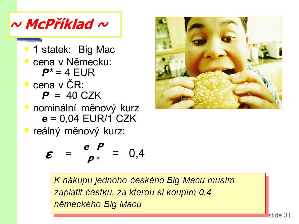 slide 31  1 statek: Big Mac  cena v Německu: P* = 4 EUR  cena v ČR: P = 40 CZK  nominální měnový kurz e = 0,04 EUR/1 CZK  reálný měnový kurz: ~ McPříklad ~ slide 31 K nákupu jednoho českého Big Macu musím zaplatit částku, za kterou si koupím 0,4 německého Big Macu ε = 0,4