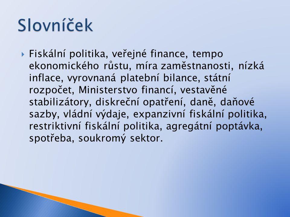 Fiskální politika, veřejné finance, tempo ekonomického růstu, míra zaměstnanosti, nízká inflace, vyrovnaná platební bilance, státní rozpočet, Ministerstvo financí, vestavěné stabilizátory, diskreční opatření, daně, daňové sazby, vládní výdaje, expanzivní fiskální politika, restriktivní fiskální politika, agregátní poptávka, spotřeba, soukromý sektor.
