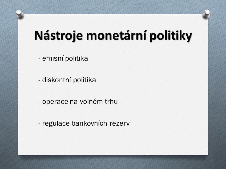 Nástroje monetární politiky - emisní politika - diskontní politika - operace na volném trhu - regulace bankovních rezerv