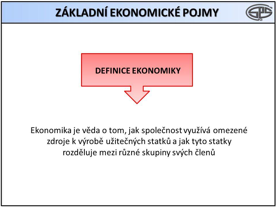ZÁKLADNÍ EKONOMICKÉ POJMY DEFINICE EKONOMIKY Ekonomika je věda o tom, jak společnost využívá omezené zdroje k výrobě užitečných statků a jak tyto statky rozděluje mezi různé skupiny svých členů