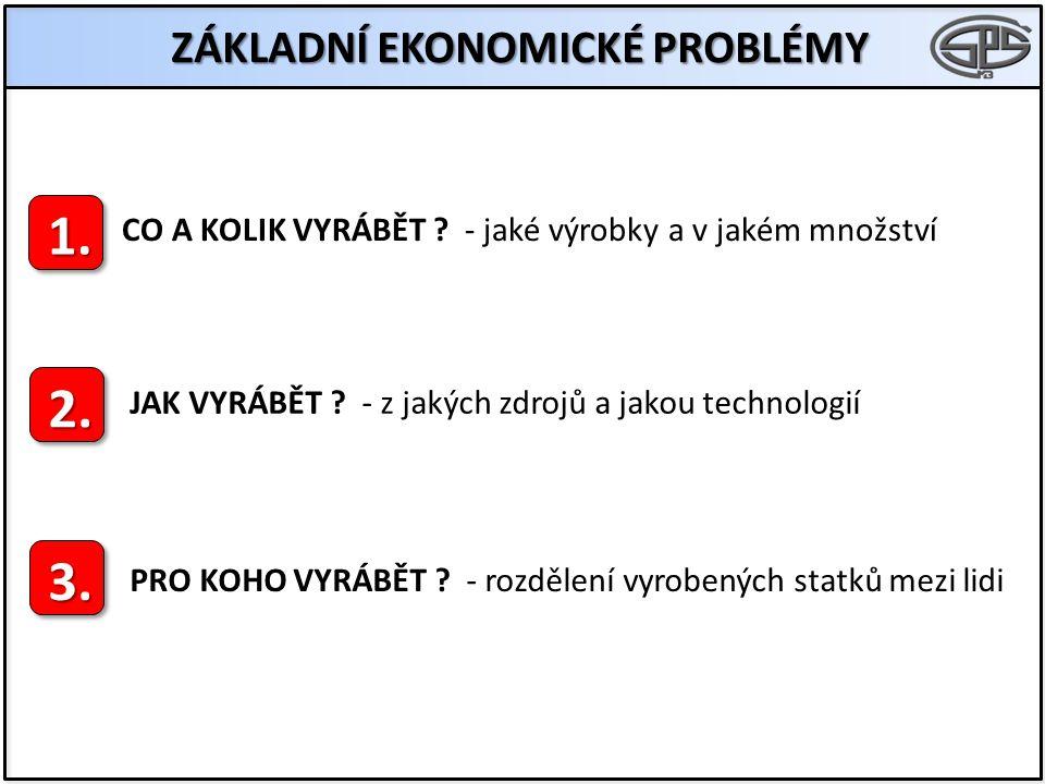ZÁKLADNÍ EKONOMICKÉ PROBLÉMY 1. 2. 3. CO A KOLIK VYRÁBĚT .