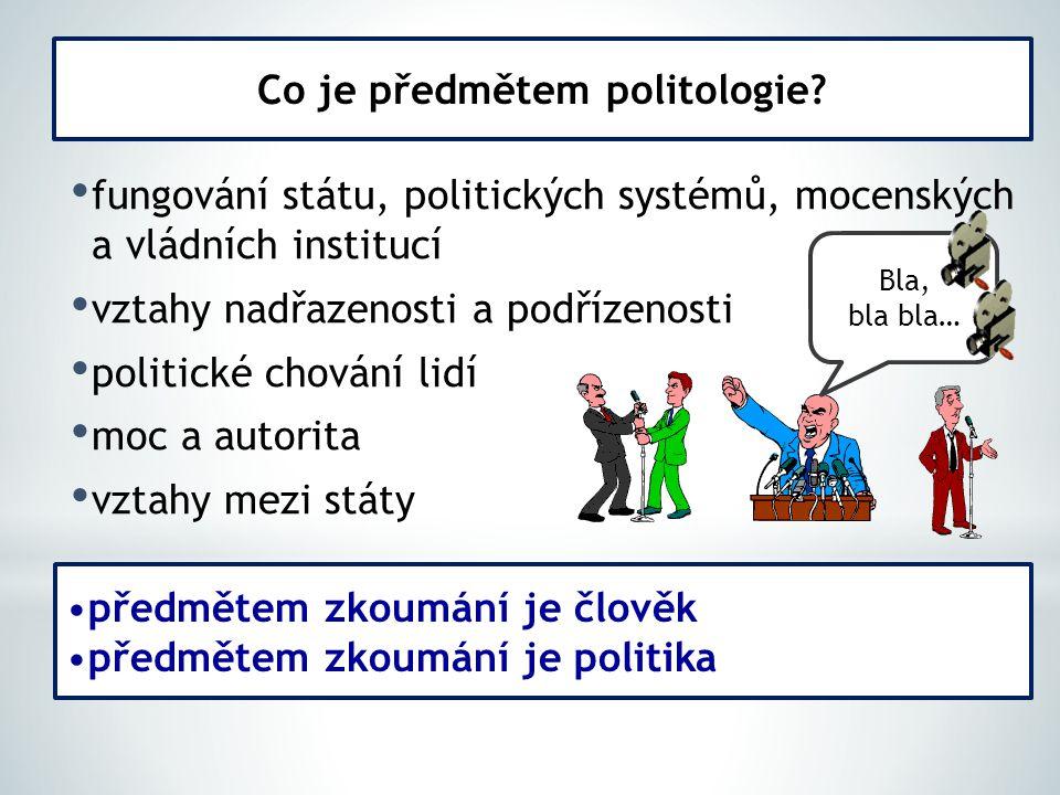fungování státu, politických systémů, mocenských a vládních institucí vztahy nadřazenosti a podřízenosti politické chování lidí moc a autorita vztahy mezi státy Co je předmětem politologie.