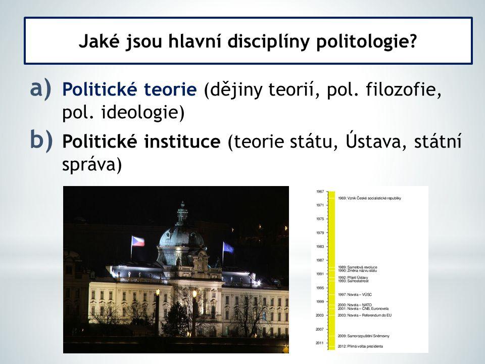 a) Politické teorie (dějiny teorií, pol. filozofie, pol.